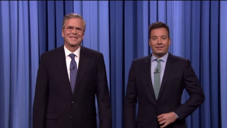 "Jimmy Fallon Jeb Bush Guacamole  Republican Jeb Bush ""slow jammed"" the news during a"