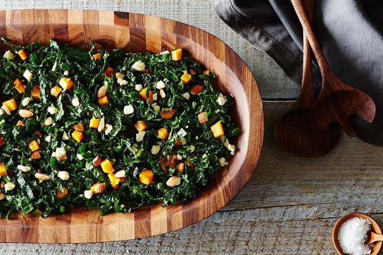 Kale Thanksgiving Recipes  Kale Salad Recipe Butternut Squash Almonds & Cheddar