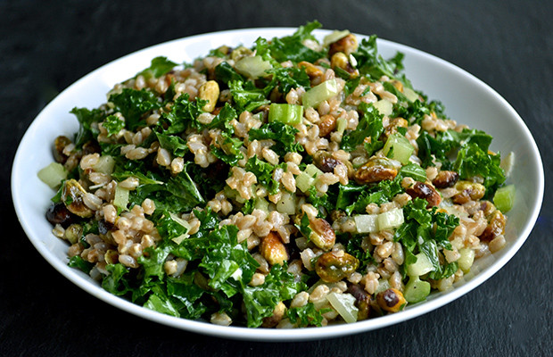 Kale Thanksgiving Recipes  Healthy Thanksgiving Recipes Pistachio Farro and Kale