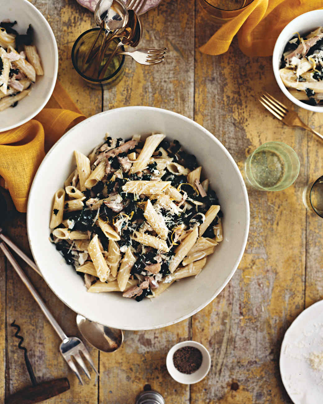 Kale Thanksgiving Recipes  Penne with Goat Cheese Kale Olives and Turkey Recipe