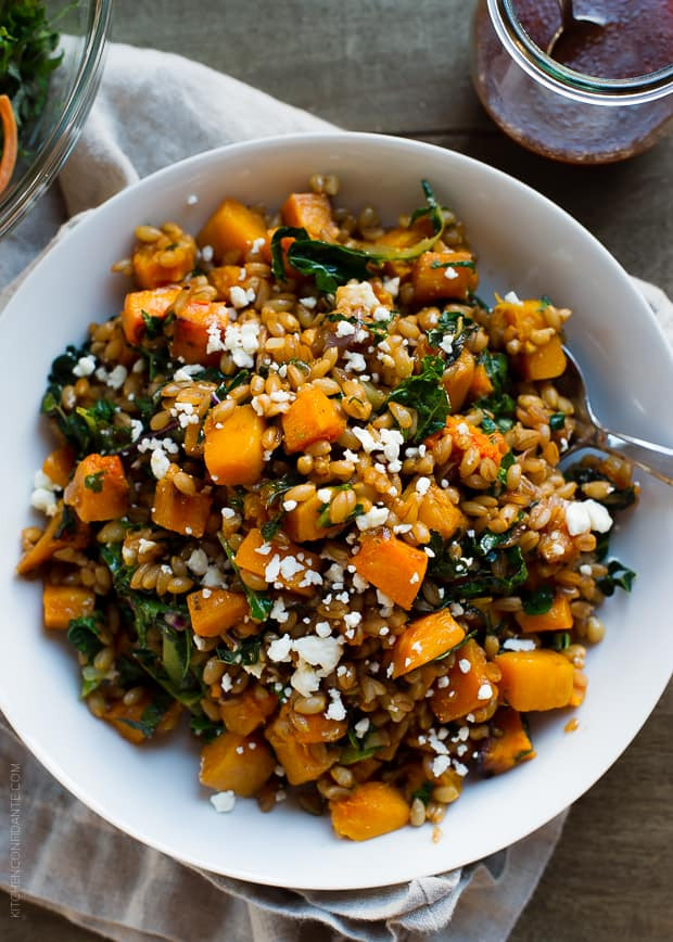 Kale Thanksgiving Recipes  Roasted Butternut Squash Winter Salad with Kale Farro and