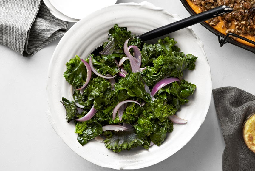Kale Thanksgiving Recipes  Tom Valenti s Sautéed Kale with Garlic and Red ions Recipe
