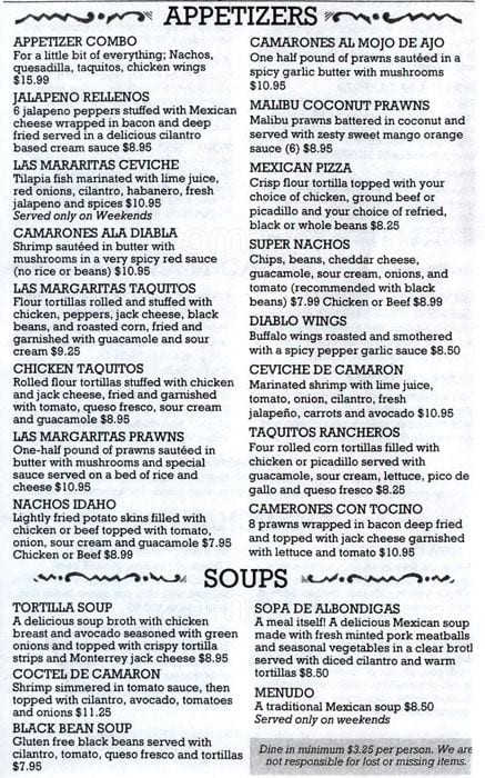 Las Margaritas O'Fallon Menu  Las Margaritas Menu Menu for Las Margaritas Covington