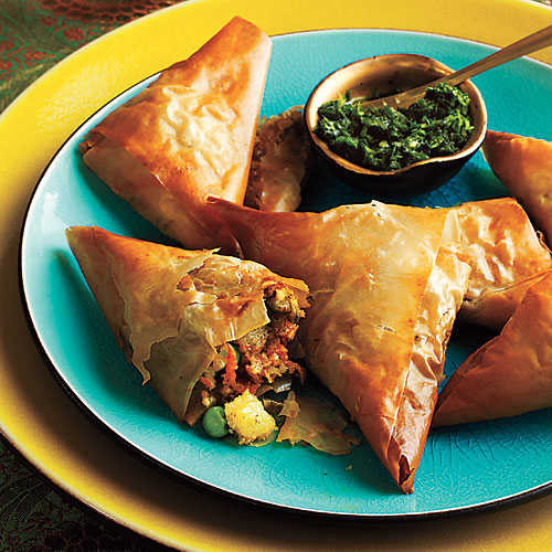 Light Thanksgiving Appetizers  Ve able Samosas with Mint Chutney Thanksgiving