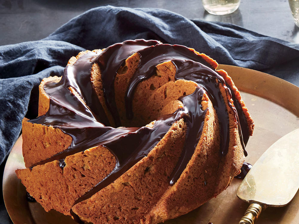 Light Thanksgiving Desserts  Pumpkin Bundt Cake with Chocolate Glaze Recipe Cooking Light