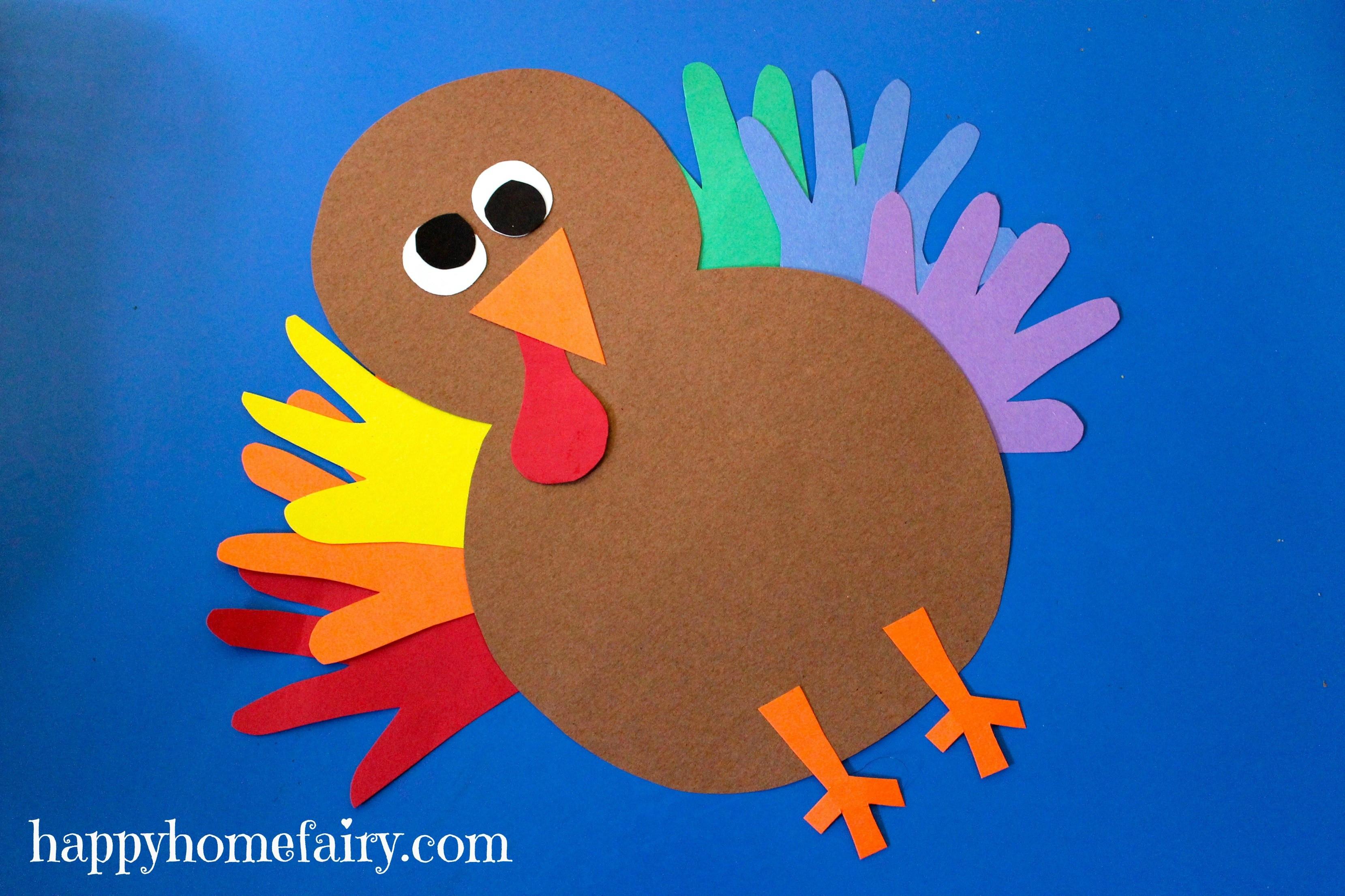 Make Thanksgiving Turkey  Thankful Handprint Turkey Craft FREE Printable Happy