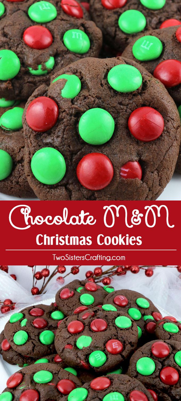 M&M Christmas Cookies Recipe  Chocolate M&M Christmas Cookies Two Sisters