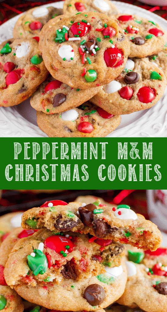 M&M Christmas Cookies Recipe  Peppermint M&M Christmas Cookies with sprinkles and