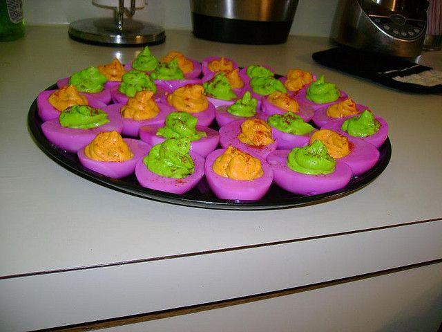 Martha Stewart Halloween Deviled Eggs  Dyed deviled eggs For Halloween idea was from Martha