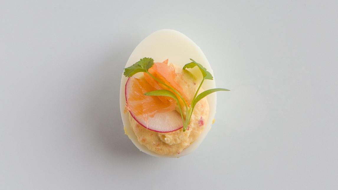 Martha Stewart Halloween Deviled Eggs  Smoked Salmon Radish Deviled Eggs