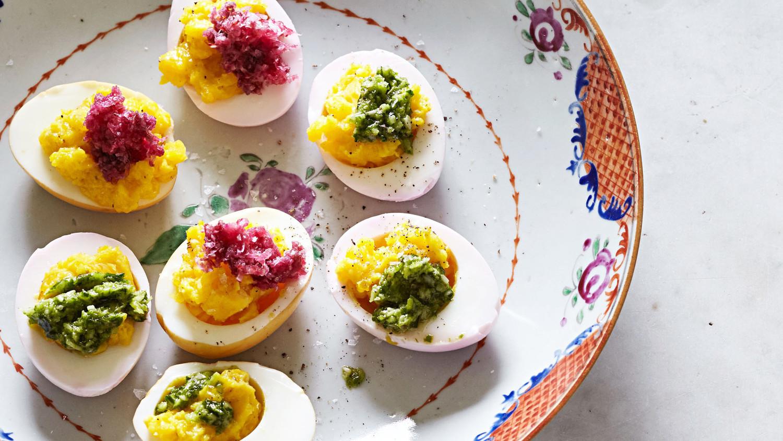 Martha Stewart Halloween Deviled Eggs  Dyed Deviled Eggs