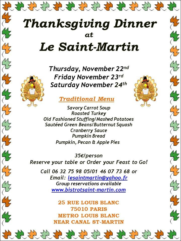 Martins Thanksgiving Dinners  Thanksgiving Dinner at Le Saint Martin