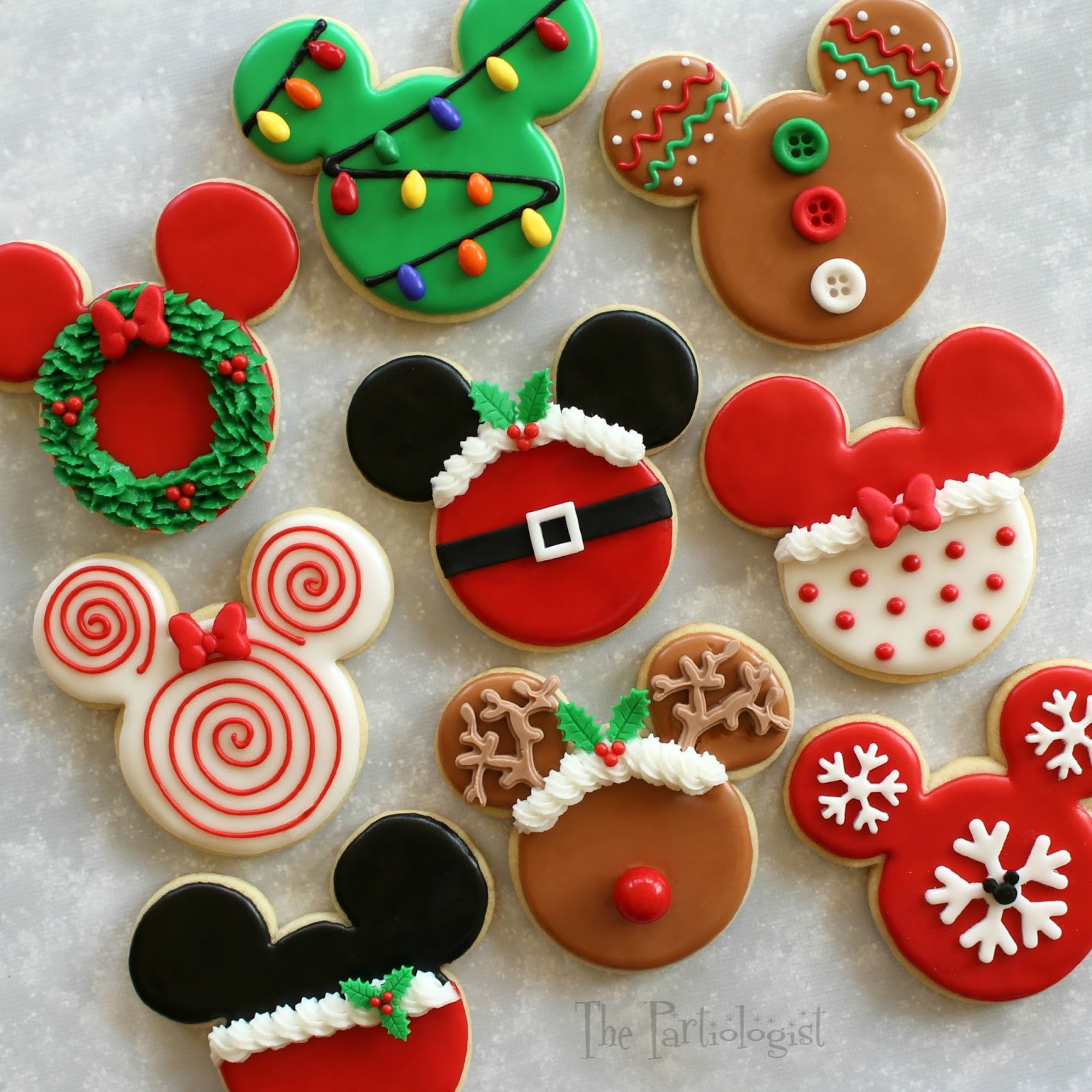Mickey Christmas Cookies  The Partiologist Disney Themed Christmas Cookies