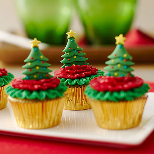 Mini Christmas Cup Cakes  Mini Cupcakes Topped with Christmas Trees