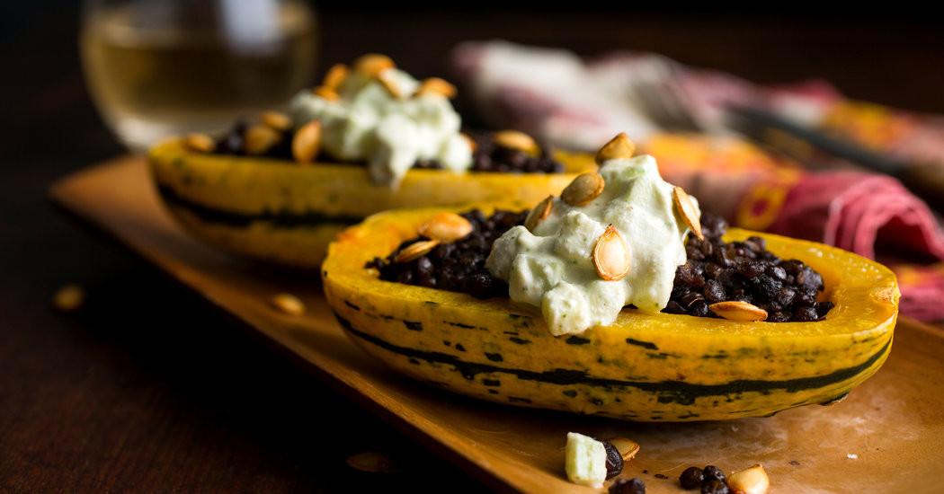 New York Times Vegan Thanksgiving  Ve arian Thanksgiving Lentil Stuffed Delicata Squash