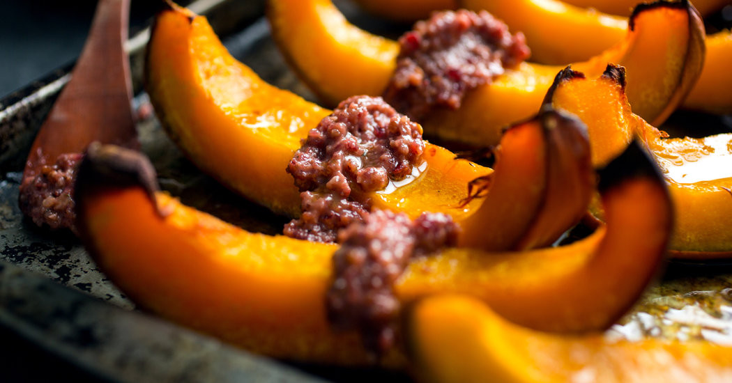 New York Times Vegan Thanksgiving  Ve arian Thanksgiving Roasted Pumpkin Wedges With Chili