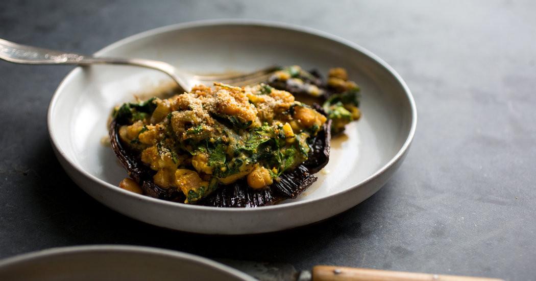 New York Times Vegan Thanksgiving  Ve arian Thanksgiving Stuffed Portobello Mushrooms