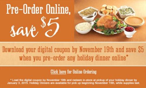 Order Christmas Dinner  $5 f Kroger Holiday Dinner When You Pre Order