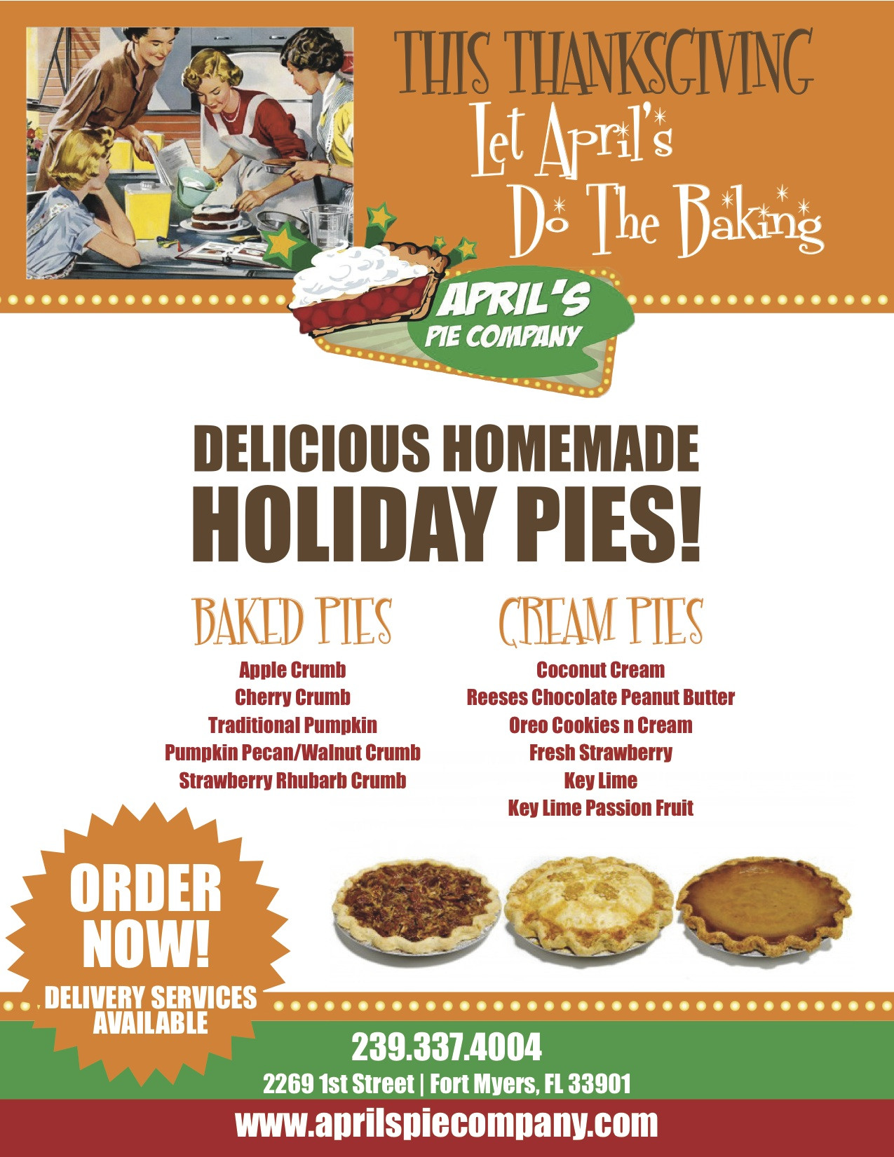 Order Pies For Thanksgiving  Delicious Media for April's Pie pany