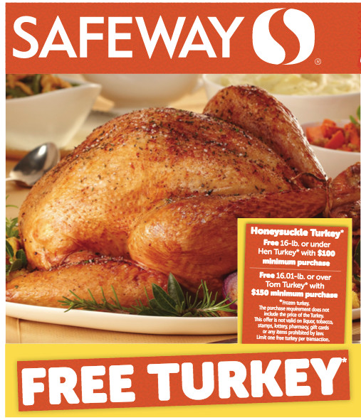 Order Thanksgiving Dinner Safeway  Safeway Free Thanksgiving Turkey with $100 Grocery