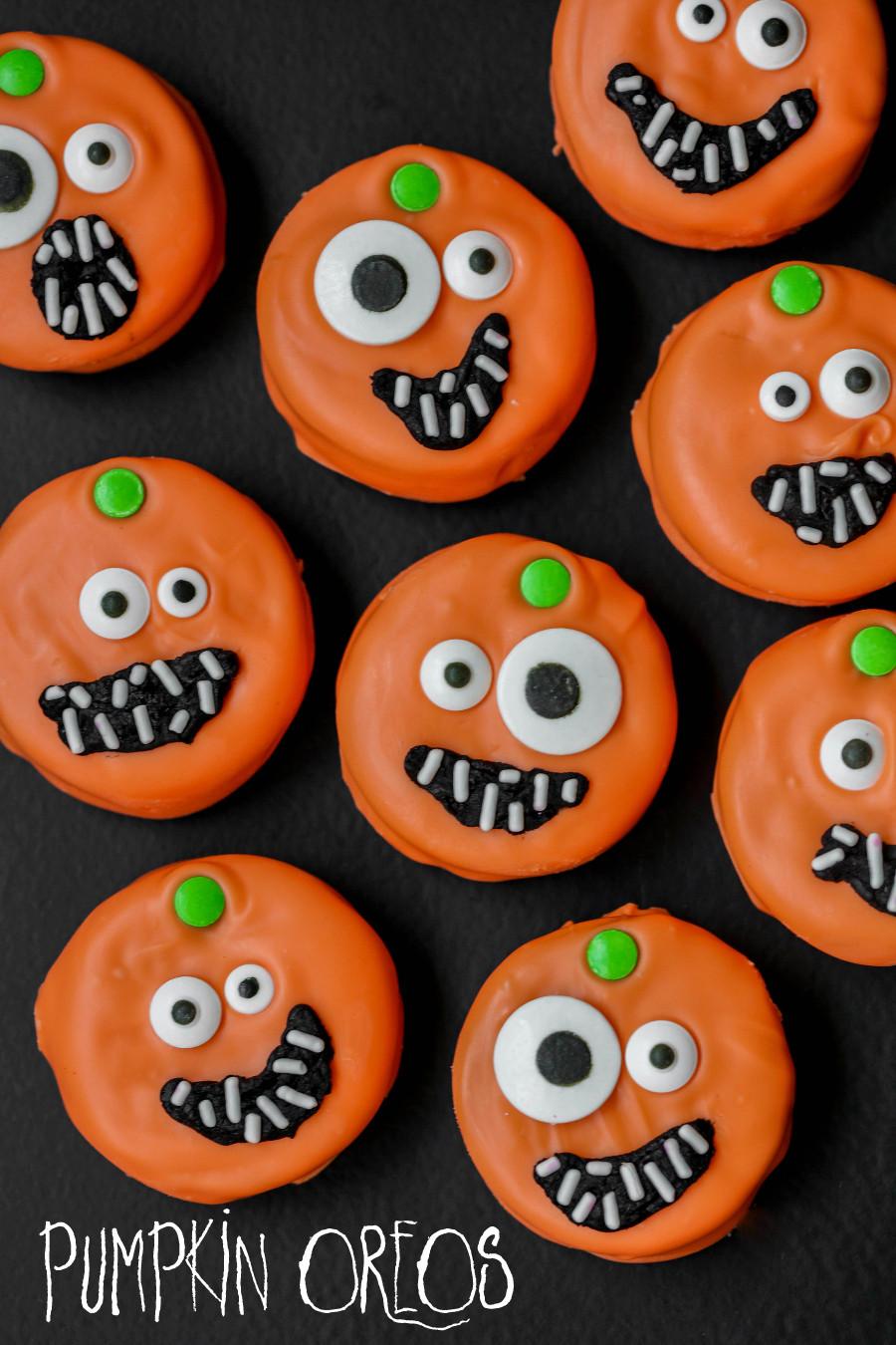 Oreo Halloween Cookies  Pumpkin Oreos Eighteen25