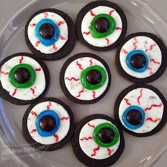 Oreo Halloween Cookies  Halloween Eyeball Printable Art and Decor 100 Directions