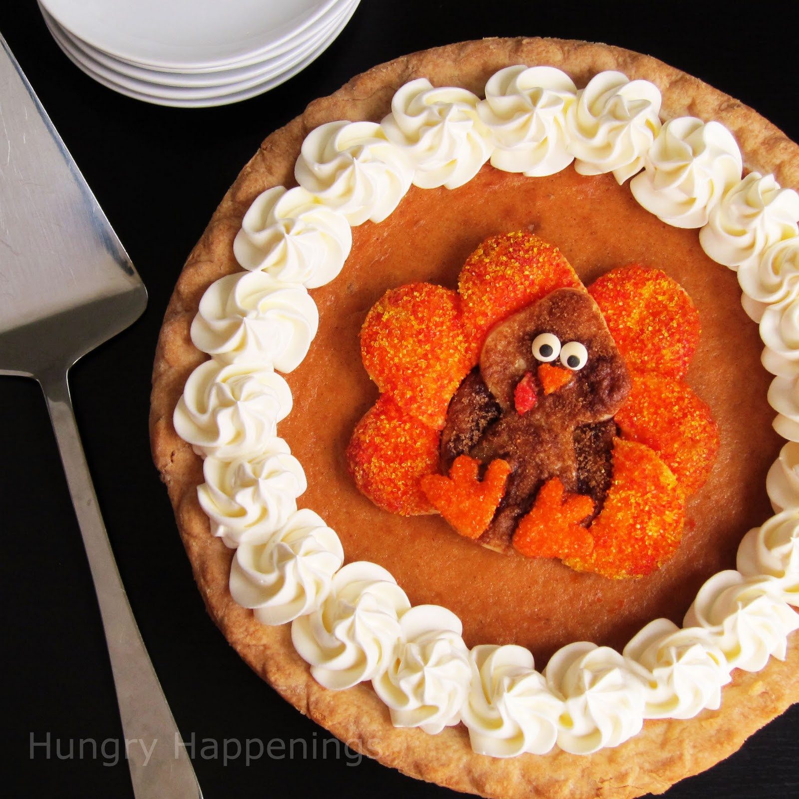 Pies For Thanksgiving  Decorated Pumpkin Pie Festive Thanksgiving Dessert