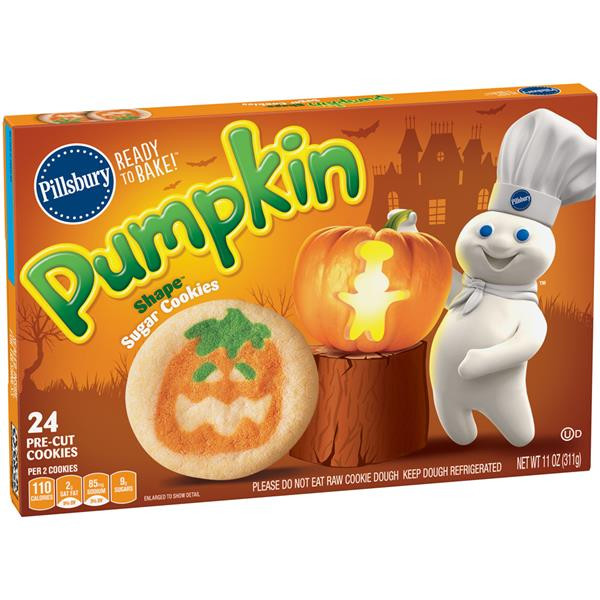 Pillsbury Dough Boy Halloween Cookies  Pillsbury Ready to Bake Pumpkin Shape Sugar Cookies