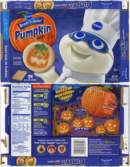Pillsbury Halloween Sugar Cookies  Pillsbury Ready to Bake Pumpkin Shape Sugar Cookies box