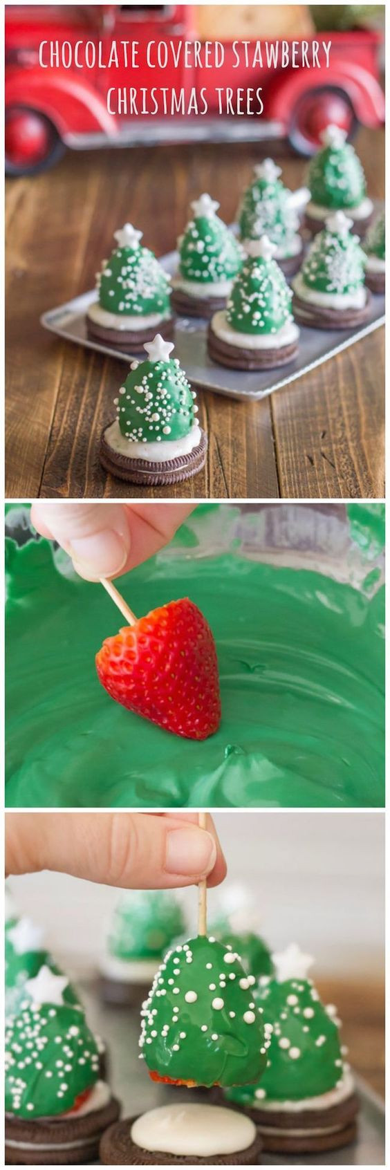 Pinterest Christmas Desserts  Chocolate covered strawberry Christmas trees and 10 other