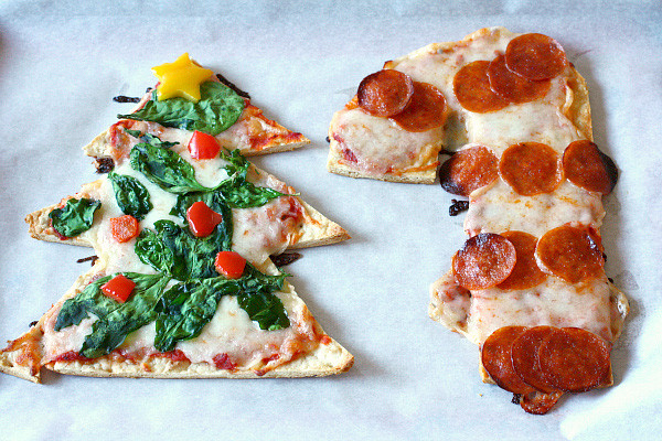 Pizza Dough Spinach Dip Christmas Tree  Christmas tree and candy cane shaped pizzas