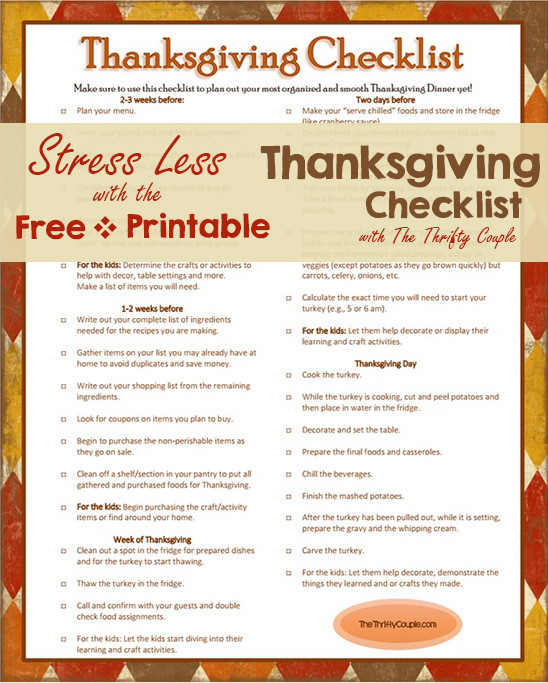 Planning Thanksgiving Dinner Checklist  Everything You Need this Thanksgiving