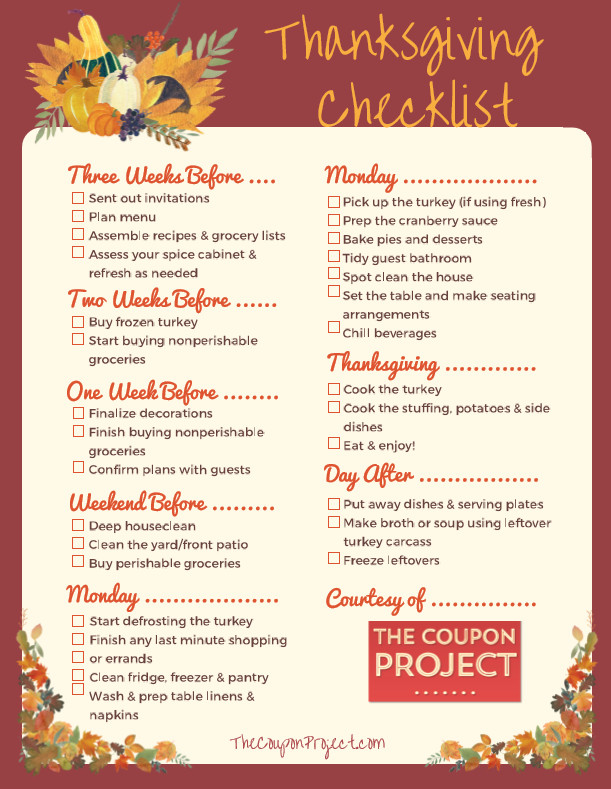 Planning Thanksgiving Dinner Checklist  Thanksgiving Planning Checklist Free Printable