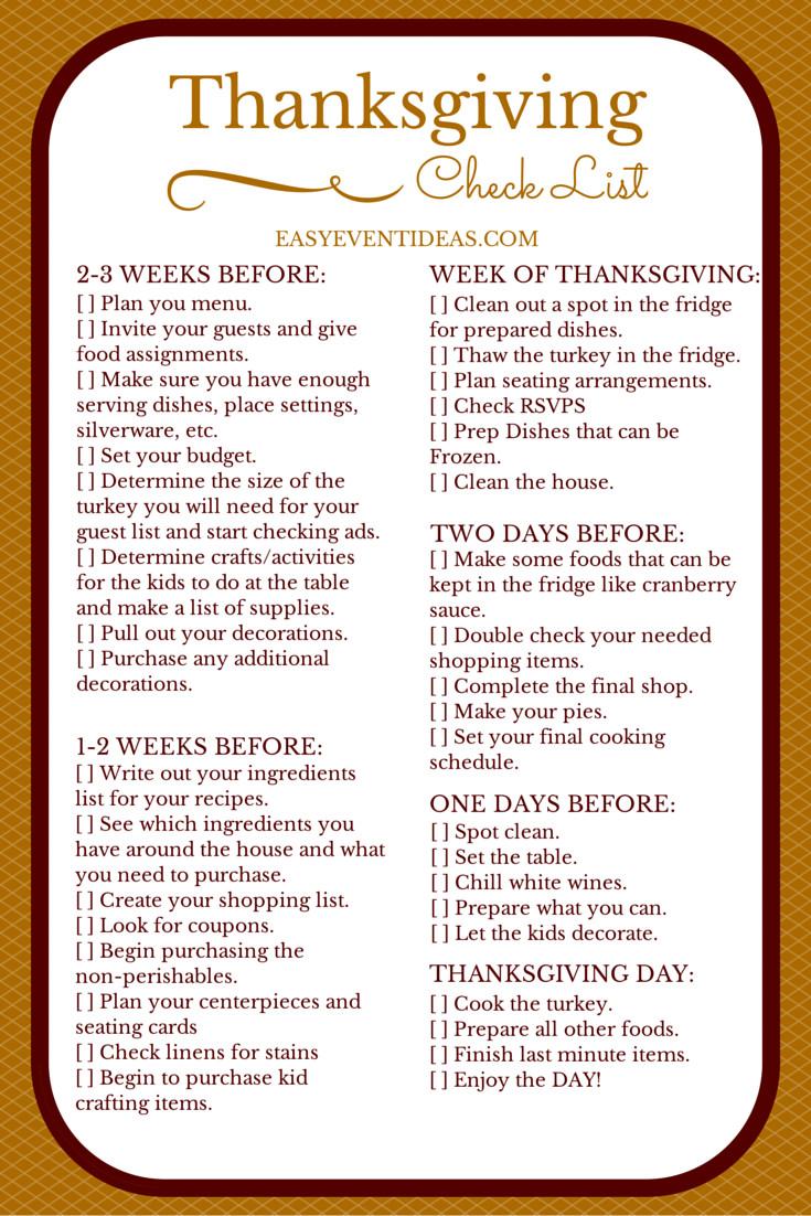 Planning Thanksgiving Dinner Checklist  thanksgiving