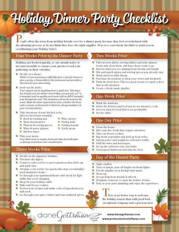 Planning Thanksgiving Dinner Checklist  Holiday Dinner Party Checklist Diane Gottsman