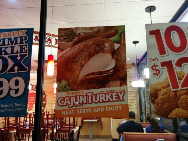 Popeyes Turkey Thanksgiving  Popeyes Cajun Turkeys Now Available for 2014