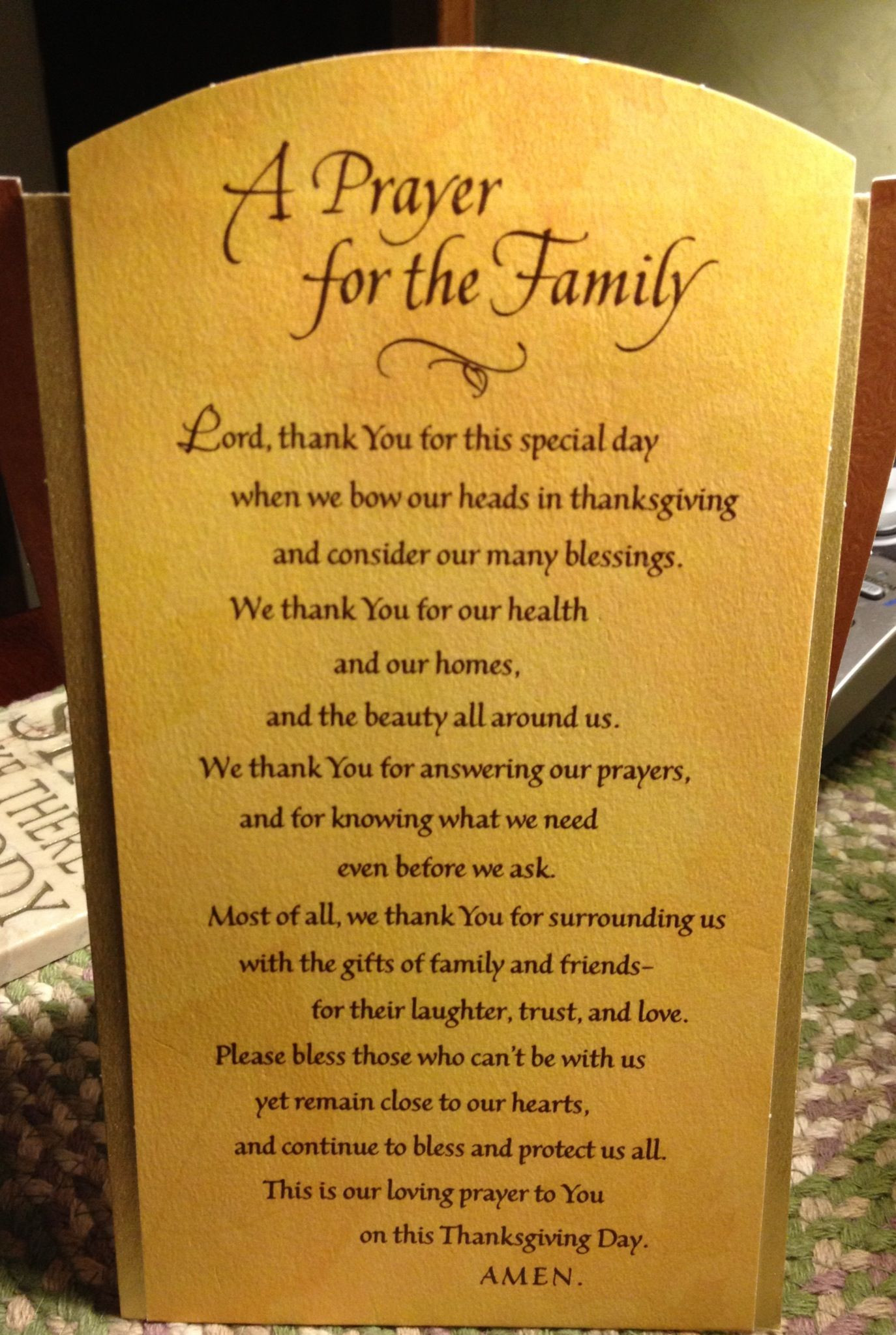 Prayer For Thanksgiving Dinner  Thanksgiving prayer Signs & Sayings