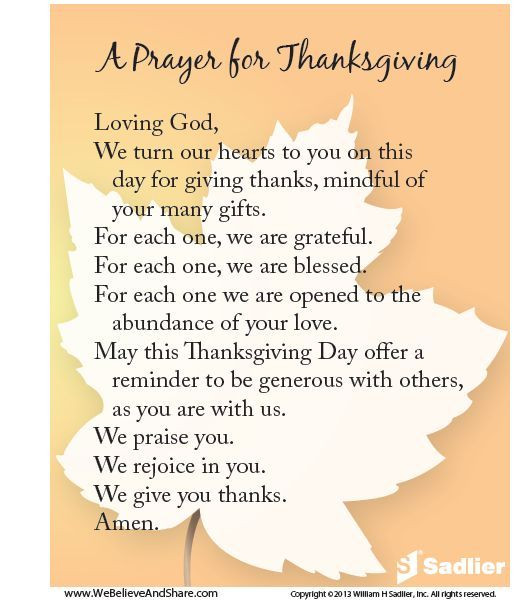 Prayer For Thanksgiving Dinner  A Prayer For Thanksgiving s and for