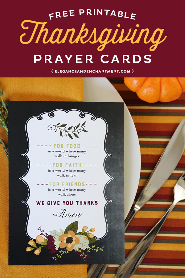 Prayer For Thanksgiving Dinner  Free Printable Thanksgiving Prayer Cards