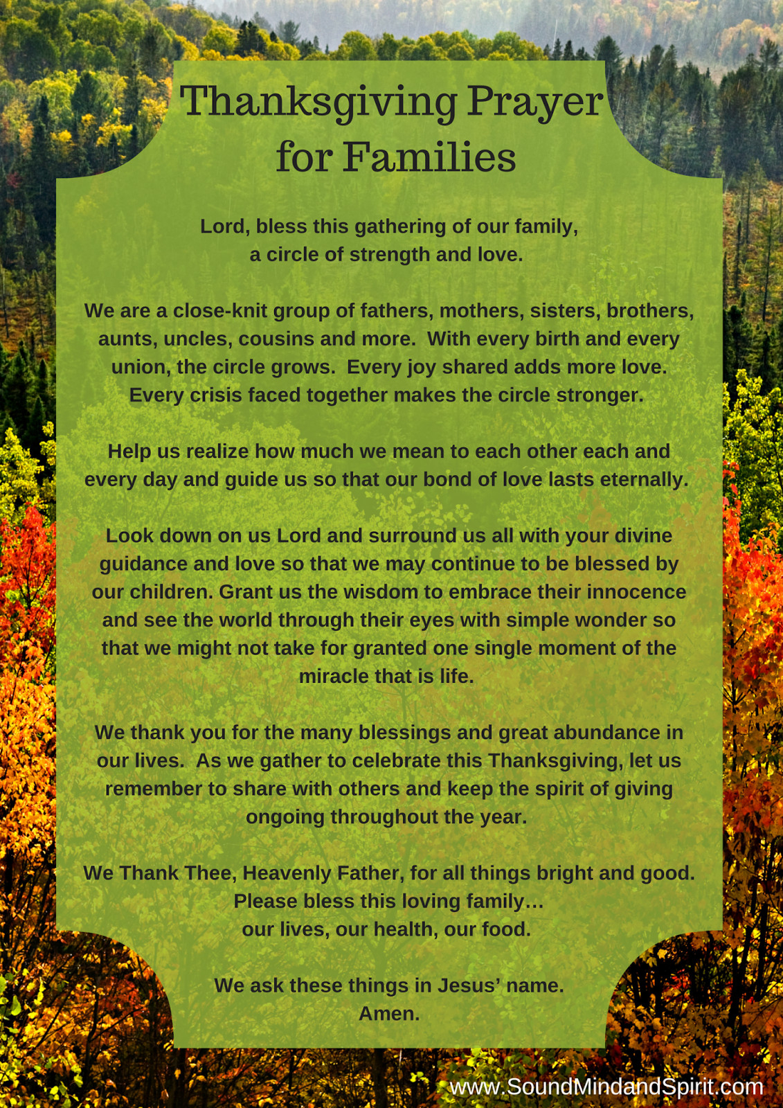 Prayer For Thanksgiving Dinner  Sound Mind and Spirit Blessings of Thanksgiving for