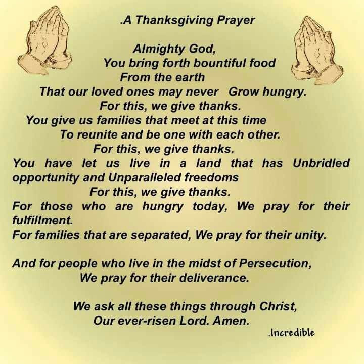 Prayer For Thanksgiving Dinner  Thanksgiving Prayer Prayers Pinterest