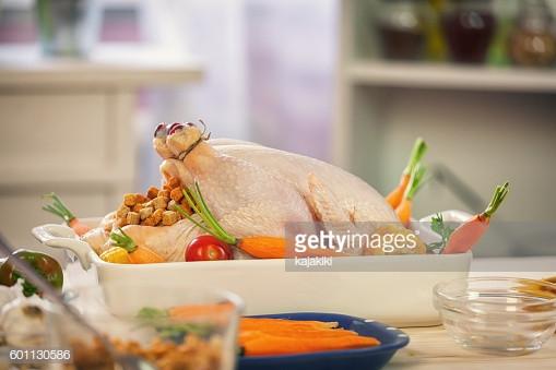Preparing A Turkey For Thanksgiving  Preparing Turkey For Thanksgiving Dinner Stock