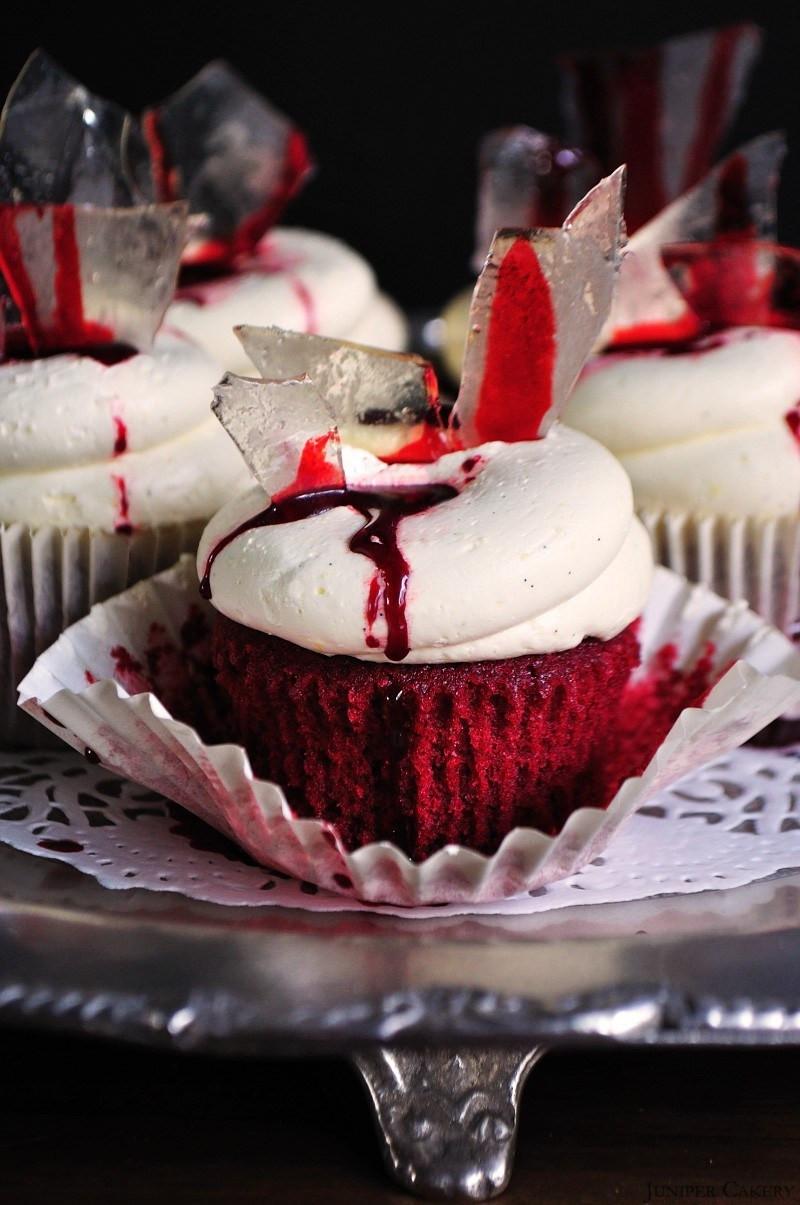 Red Velvet Halloween Cake  Halloween Red Bloody Velvet Cupcakes