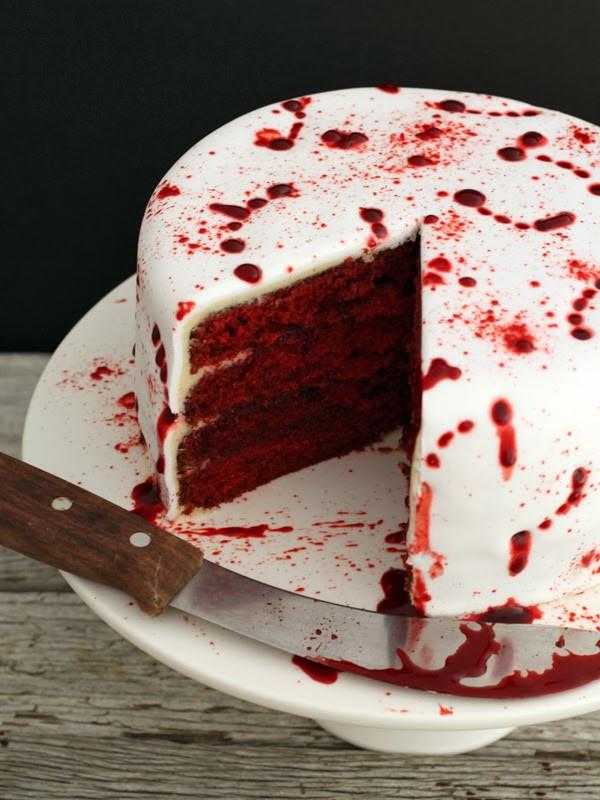 Red Velvet Halloween Cake  butter hearts sugar Vamp Attack Halloween Cake