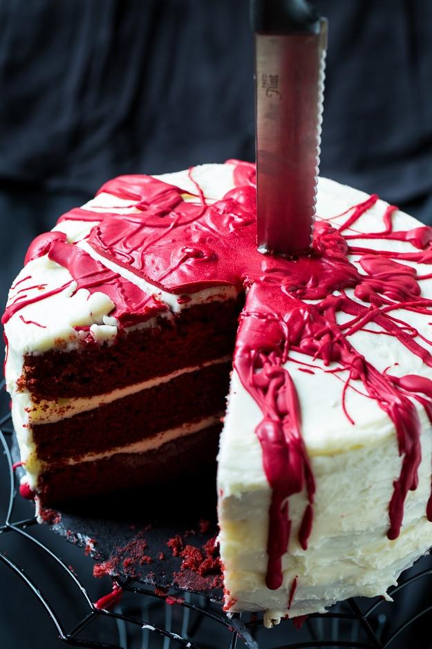 Red Velvet Halloween Cake  Bloody Red Velvet Cake Spicy Southern Kitchen