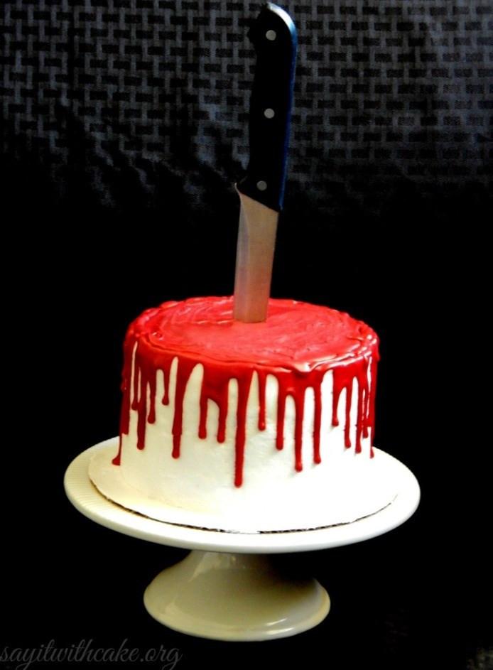 Red Velvet Halloween Cake  Bloody Cake How To Make A Bloody Halloween Cake