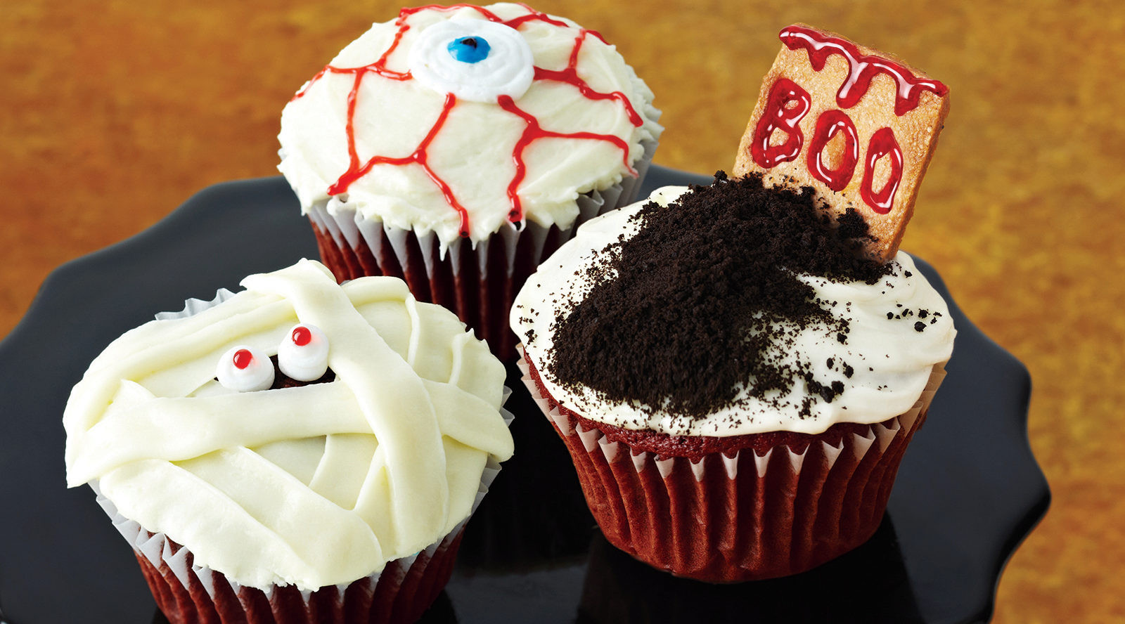 Red Velvet Halloween Cupcakes  Chocolate Spider Web Cupcakes with Cream Cheese Icing