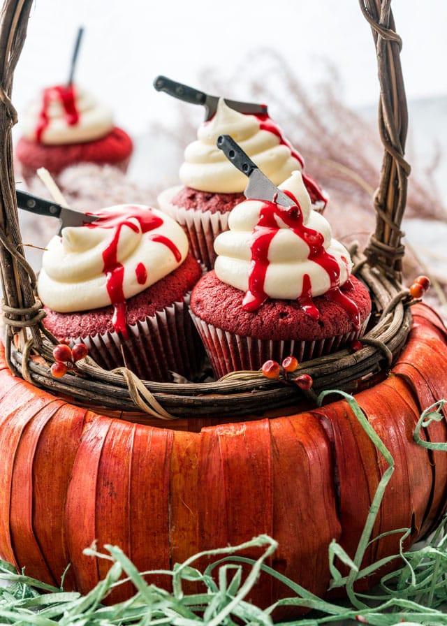 Red Velvet Halloween Cupcakes  Halloween Red Velvet Cupcakes Jo Cooks