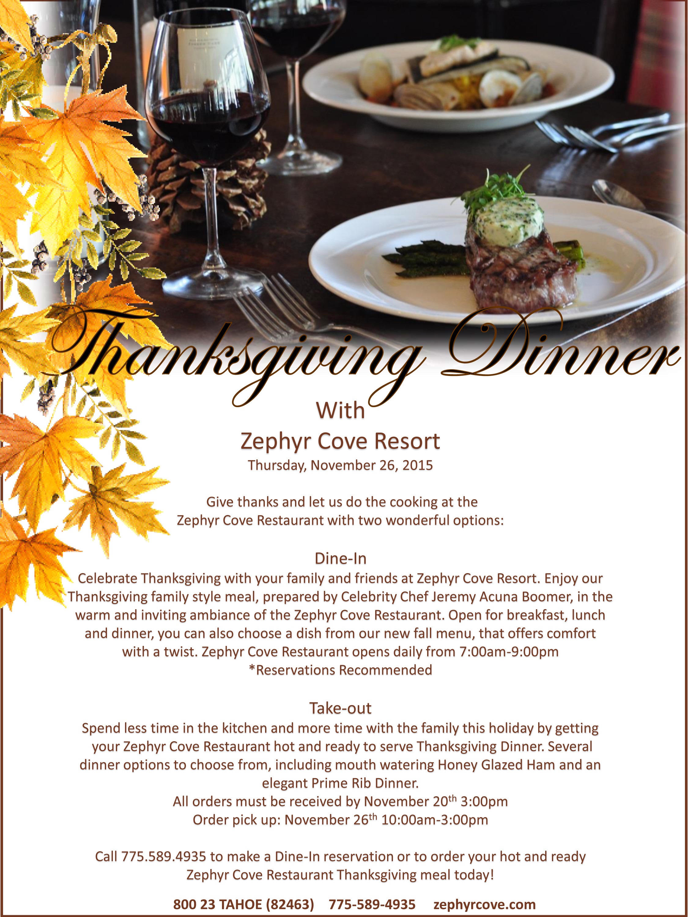 Restaurant Thanksgiving Dinner  Thanksgiving Dinner at the Zephyr Cove Restaurant