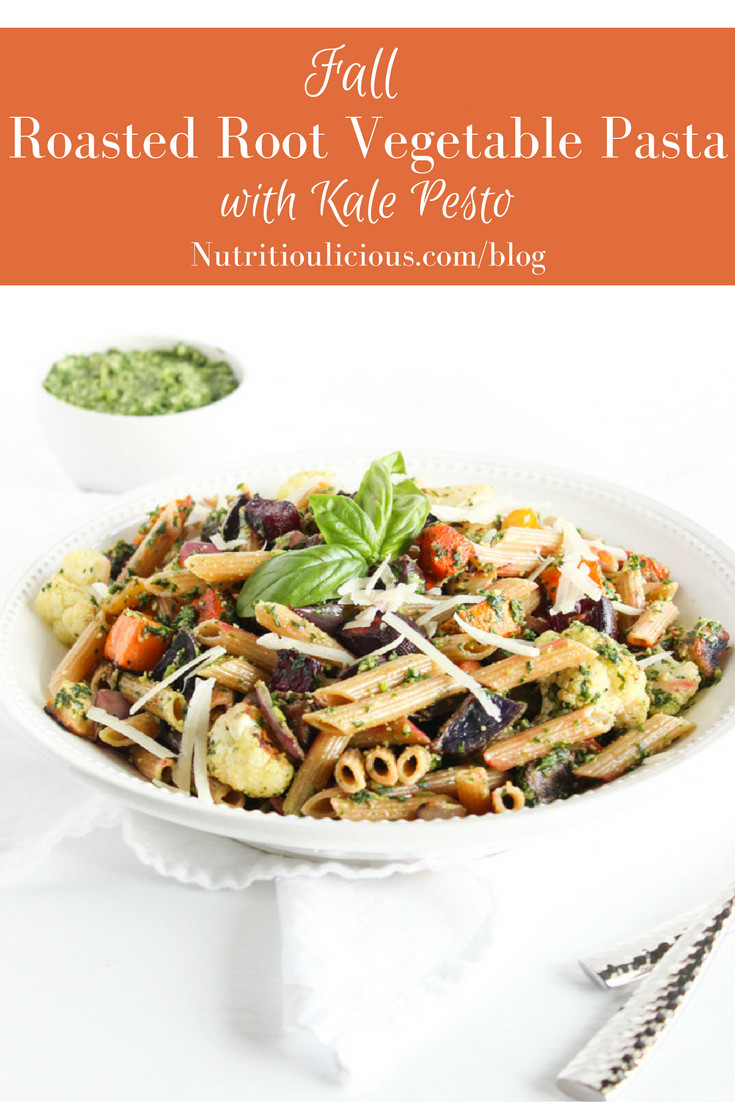 Roasted Fall Root Vegetables  Fall Roasted Root Ve able Pasta with Kale Pesto